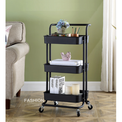 KCJ IKEA 3 Tier Multi-functional Trolley Storage Rack Utility Shelves with Handle