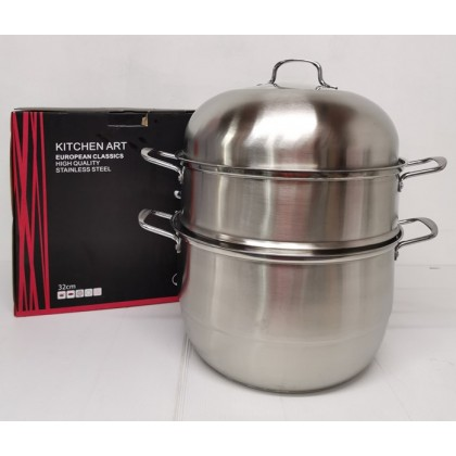 32CM 3 Layer High Quality Multi-Function Stainless Steel Steamer Pot Cookware