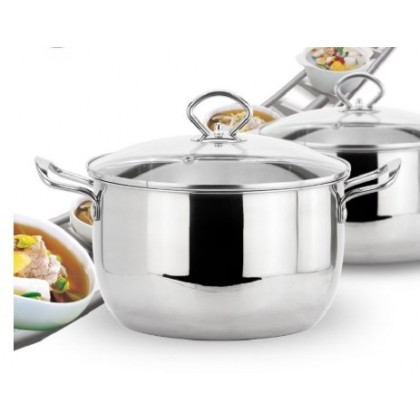 [12.12 BIG SALE PROMO] 12pcs High Quality Cookware Stainless Steel Soup Pot With Glass Lid