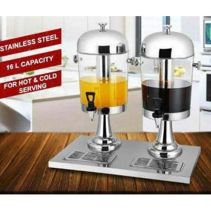 [11.11 BIG SALE PROMO] 16L Stainless Steel Double Bowl Juice Dispenser Water dispenser buffet (8L x 2)