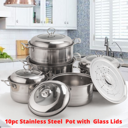 [11.11 BIG SALE PROMO] 10Pc High Quality Stainless Steel Pot Set Semi Glass Lid