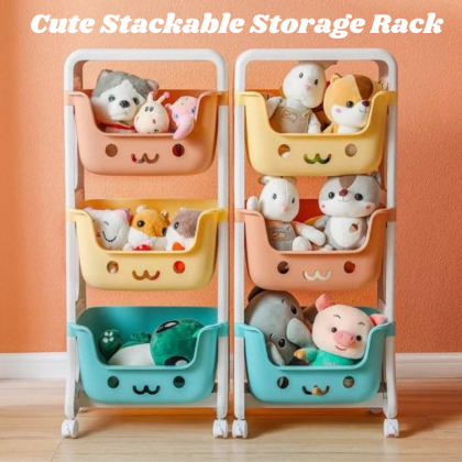 [READY STOK] KCJ Cute Stackable Storage Rack with Rotating Lock Wheels